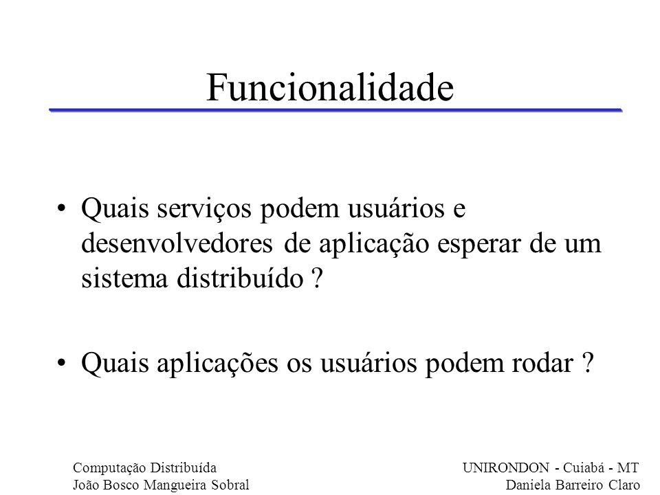Funcionalidade Quais serviços podem usuários e desenvolvedores de aplicação esperar de um sistema distribuído ? Quais aplicações os usuários podem rod