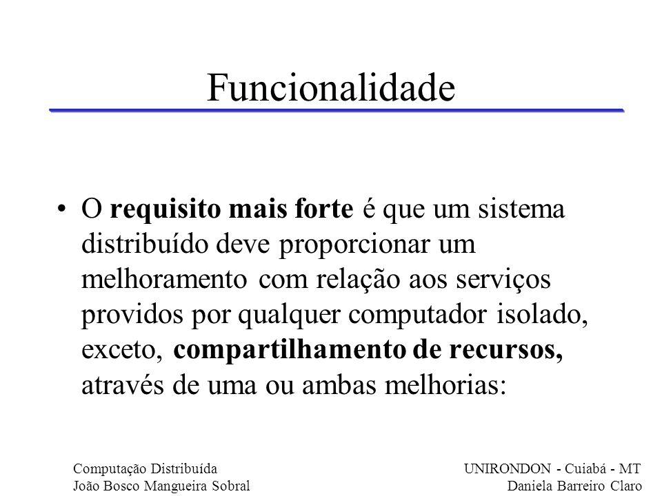 Funcionalidade O requisito mais forte é que um sistema distribuído deve proporcionar um melhoramento com relação aos serviços providos por qualquer co