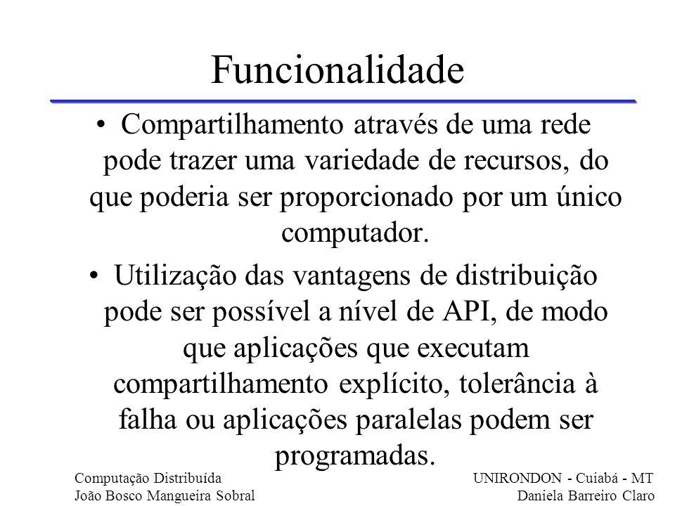 Funcionalidade Compartilhamento através de uma rede pode trazer uma variedade de recursos, do que poderia ser proporcionado por um único computador. U