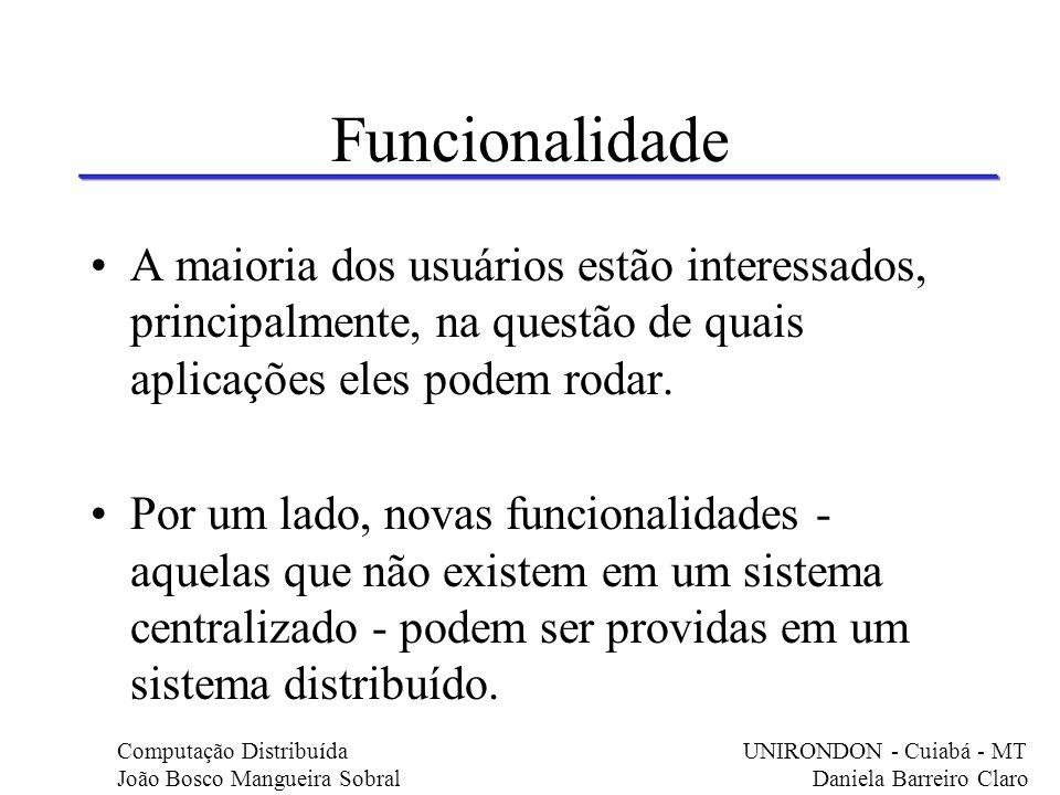 Funcionalidade A maioria dos usuários estão interessados, principalmente, na questão de quais aplicações eles podem rodar. Por um lado, novas funciona