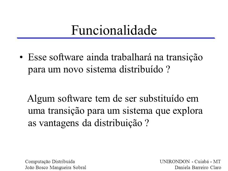 Funcionalidade Esse software ainda trabalhará na transição para um novo sistema distribuído ? Algum software tem de ser substituído em uma transição p