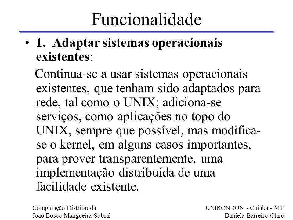 Funcionalidade 1. Adaptar sistemas operacionais existentes: Continua-se a usar sistemas operacionais existentes, que tenham sido adaptados para rede,