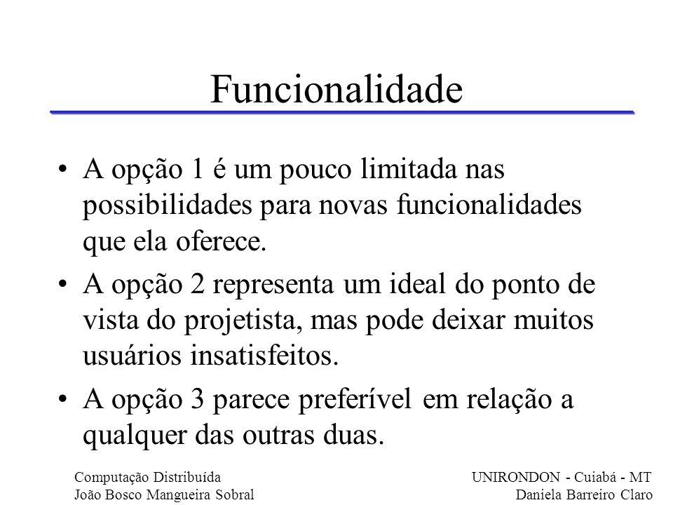 Funcionalidade A opção 1 é um pouco limitada nas possibilidades para novas funcionalidades que ela oferece. A opção 2 representa um ideal do ponto de