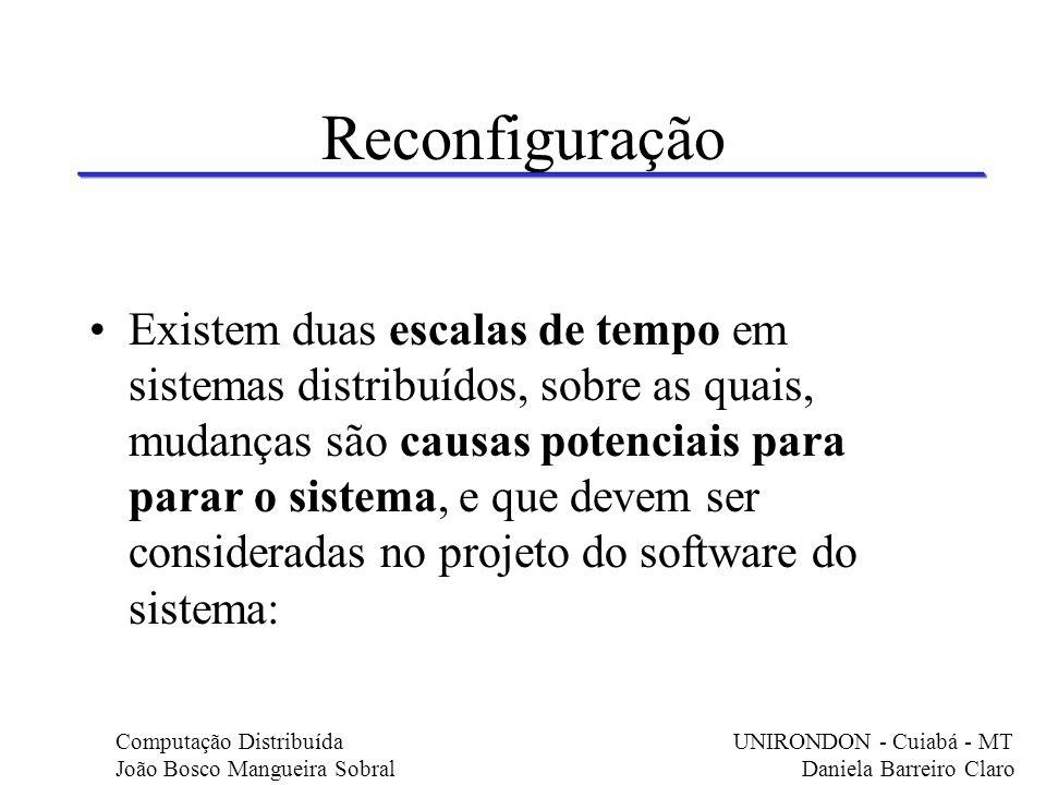 Reconfiguração Existem duas escalas de tempo em sistemas distribuídos, sobre as quais, mudanças são causas potenciais para parar o sistema, e que deve