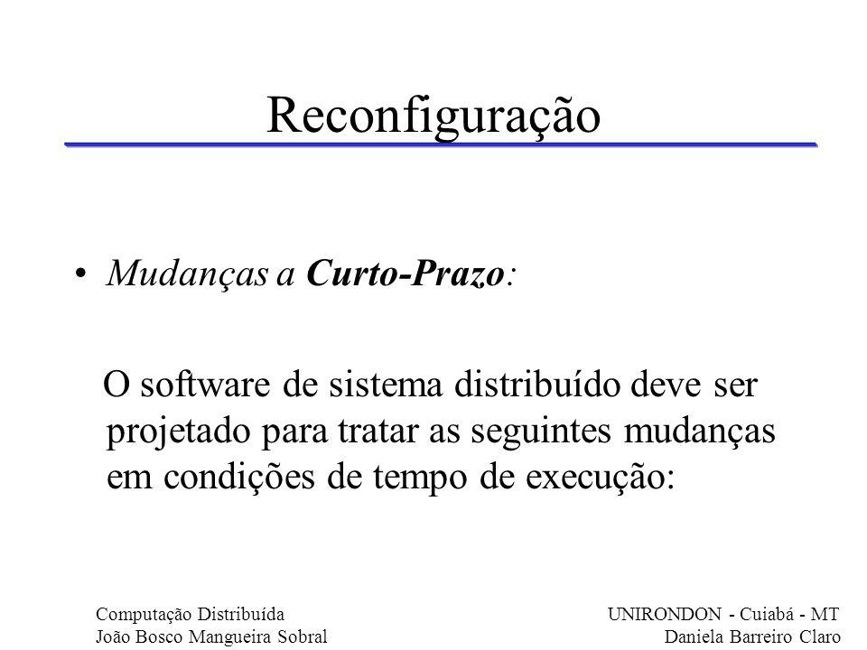 Reconfiguração Mudanças a Curto-Prazo: O software de sistema distribuído deve ser projetado para tratar as seguintes mudanças em condições de tempo de