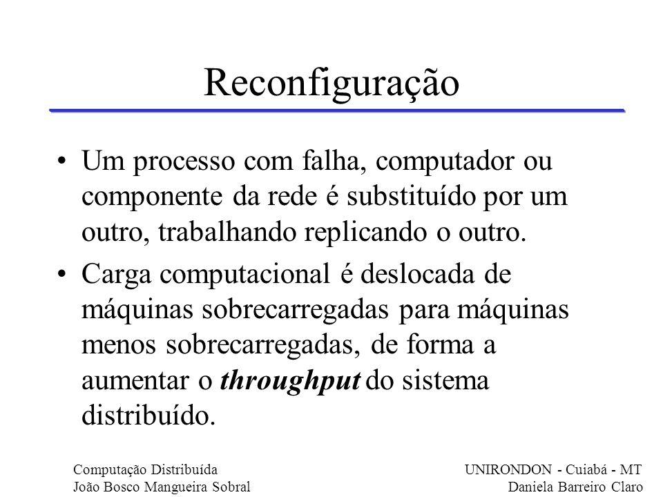 Reconfiguração Um processo com falha, computador ou componente da rede é substituído por um outro, trabalhando replicando o outro. Carga computacional