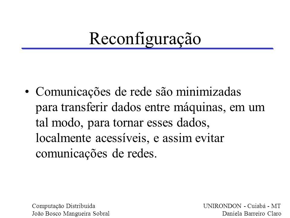 Reconfiguração Comunicações de rede são minimizadas para transferir dados entre máquinas, em um tal modo, para tornar esses dados, localmente acessíve