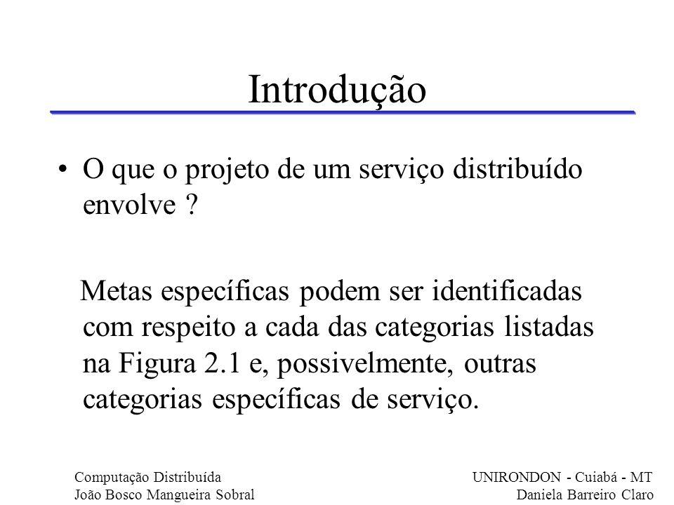 Introdução O que o projeto de um serviço distribuído envolve ? Metas específicas podem ser identificadas com respeito a cada das categorias listadas n