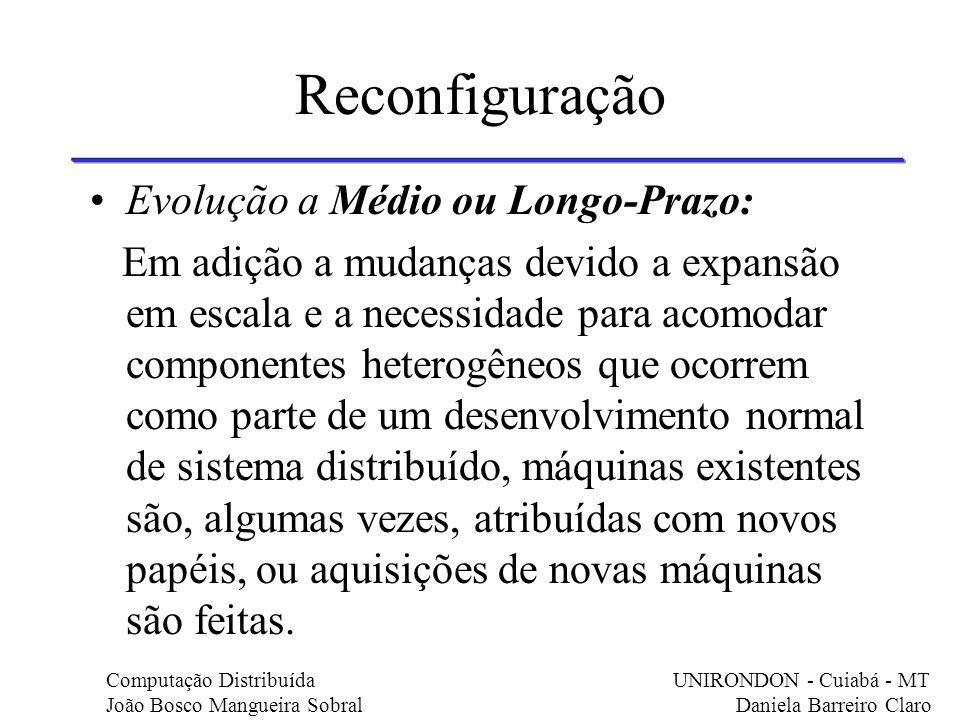 Reconfiguração Evolução a Médio ou Longo-Prazo: Em adição a mudanças devido a expansão em escala e a necessidade para acomodar componentes heterogêneo