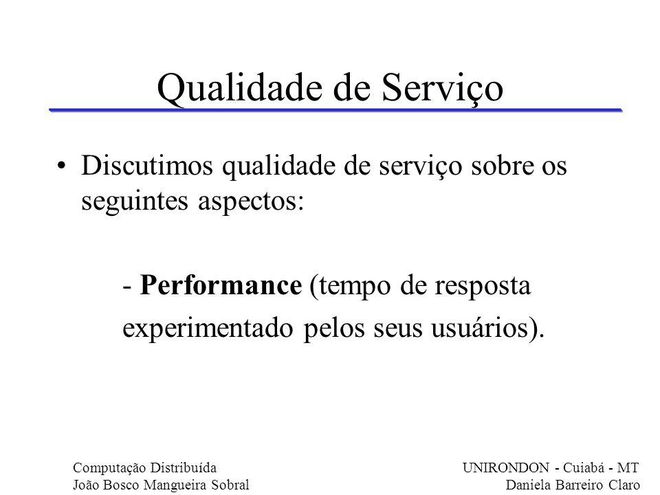 Qualidade de Serviço Discutimos qualidade de serviço sobre os seguintes aspectos: - Performance (tempo de resposta experimentado pelos seus usuários).