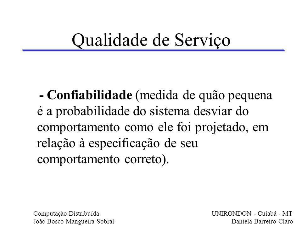 Qualidade de Serviço - Confiabilidade (medida de quão pequena é a probabilidade do sistema desviar do comportamento como ele foi projetado, em relação