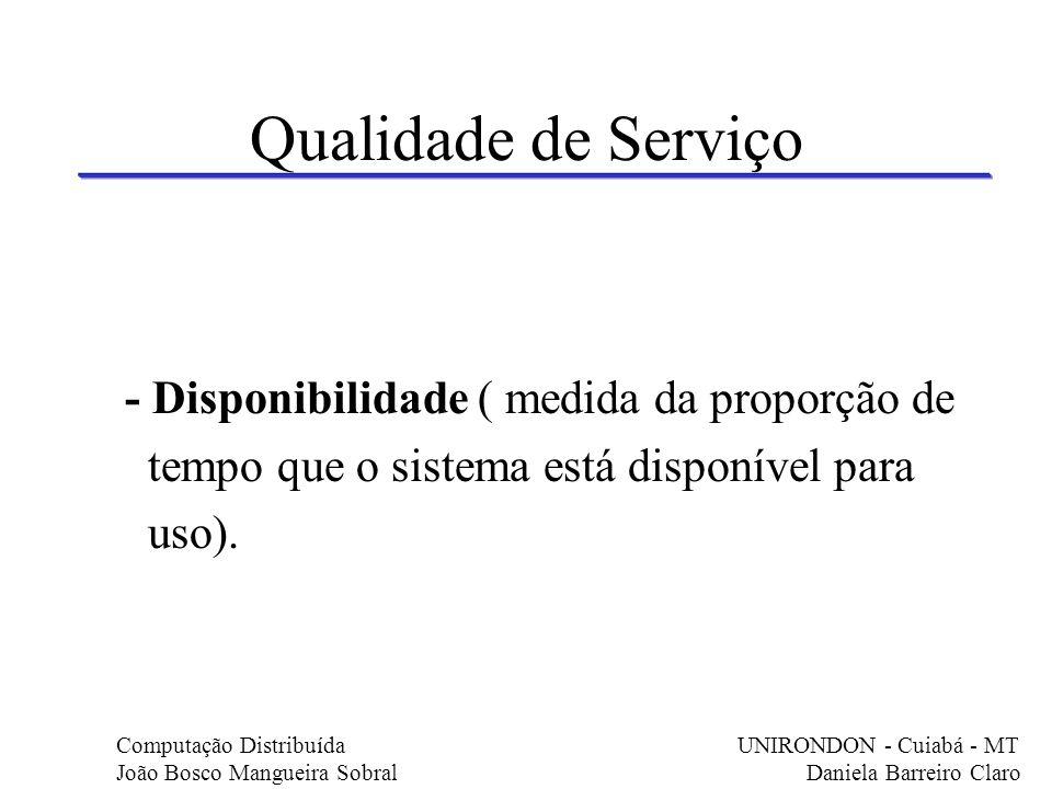 Qualidade de Serviço - Disponibilidade ( medida da proporção de tempo que o sistema está disponível para uso). Computação Distribuída UNIRONDON - Cuia