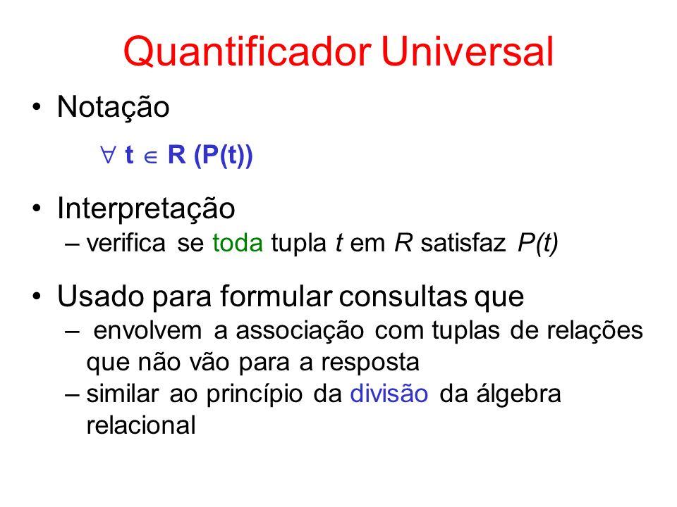 Quantificador Universal Notação t R (P(t)) Interpretação –verifica se toda tupla t em R satisfaz P(t) Usado para formular consultas que – envolvem a a