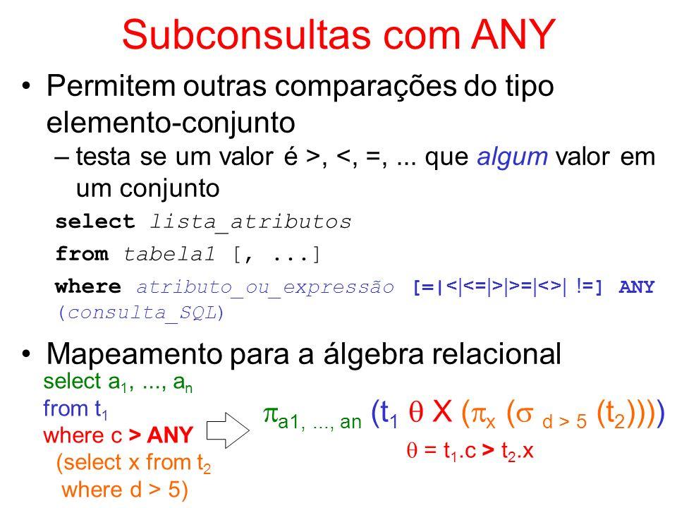 Subconsultas com ANY Permitem outras comparações do tipo elemento-conjunto –testa se um valor é >, <, =,... que algum valor em um conjunto select list