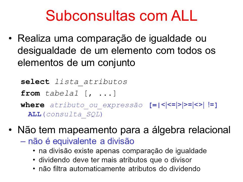 Subconsultas com ALL Realiza uma comparação de igualdade ou desigualdade de um elemento com todos os elementos de um conjunto select lista_atributos f