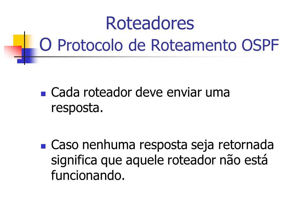 Roteadores O Protocolo de Roteamento OSPF Cada roteador deve enviar uma resposta. Caso nenhuma resposta seja retornada significa que aquele roteador n