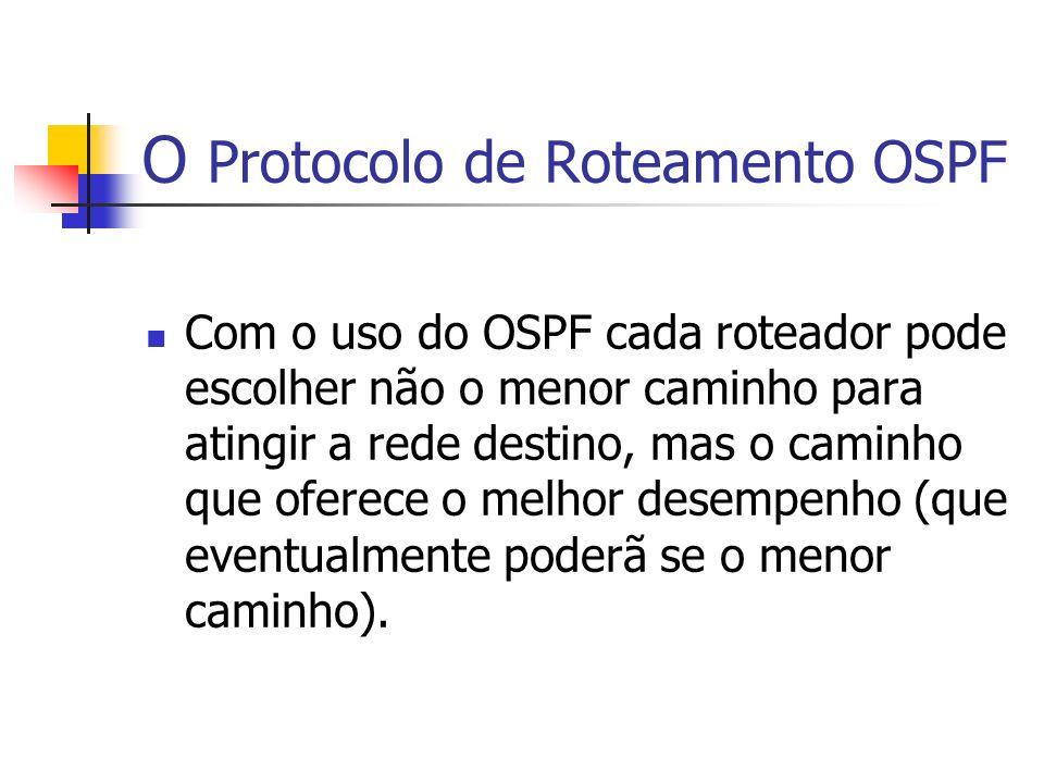 O Protocolo de Roteamento OSPF Com o uso do OSPF cada roteador pode escolher não o menor caminho para atingir a rede destino, mas o caminho que oferec
