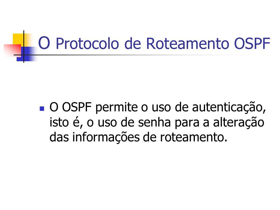 O Protocolo de Roteamento OSPF O OSPF permite o uso de autenticação, isto é, o uso de senha para a alteração das informações de roteamento.