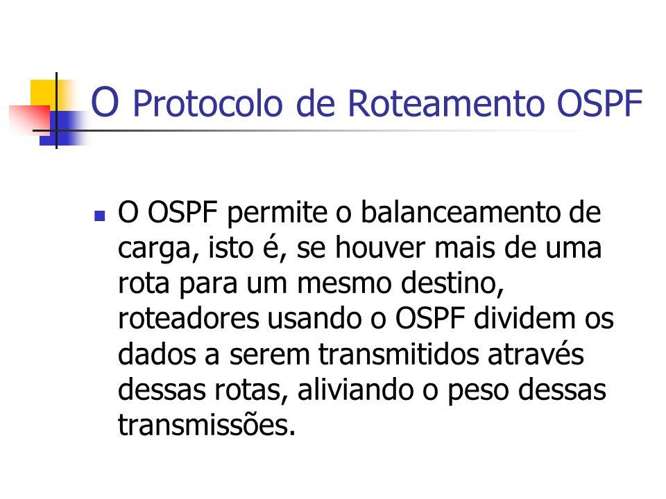 O Protocolo de Roteamento OSPF O OSPF permite o balanceamento de carga, isto é, se houver mais de uma rota para um mesmo destino, roteadores usando o