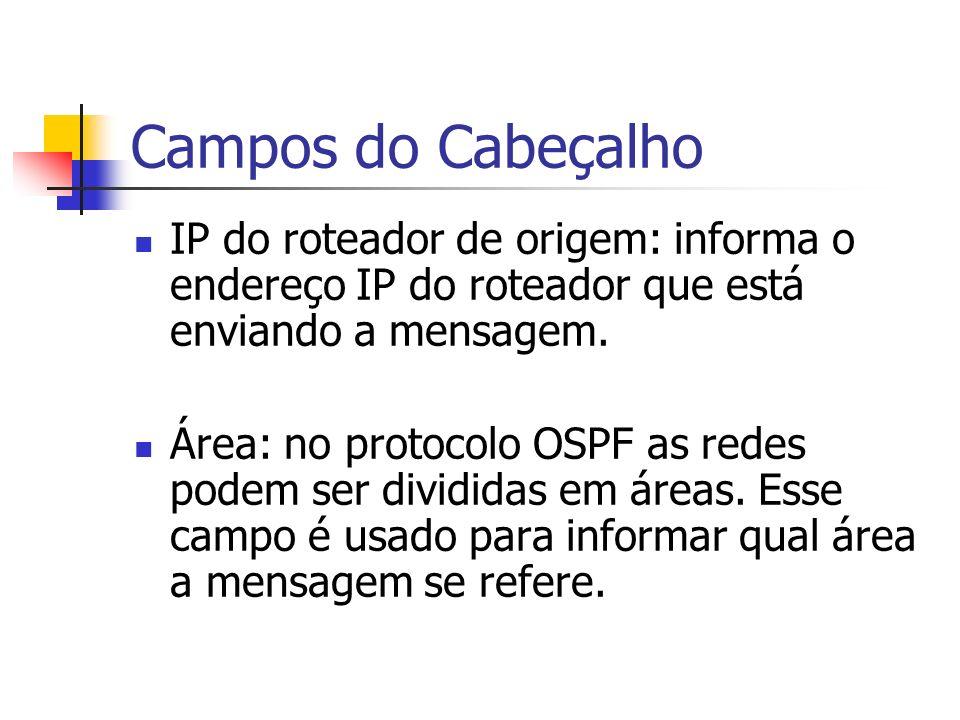 Campos do Cabeçalho IP do roteador de origem: informa o endereço IP do roteador que está enviando a mensagem. Área: no protocolo OSPF as redes podem s