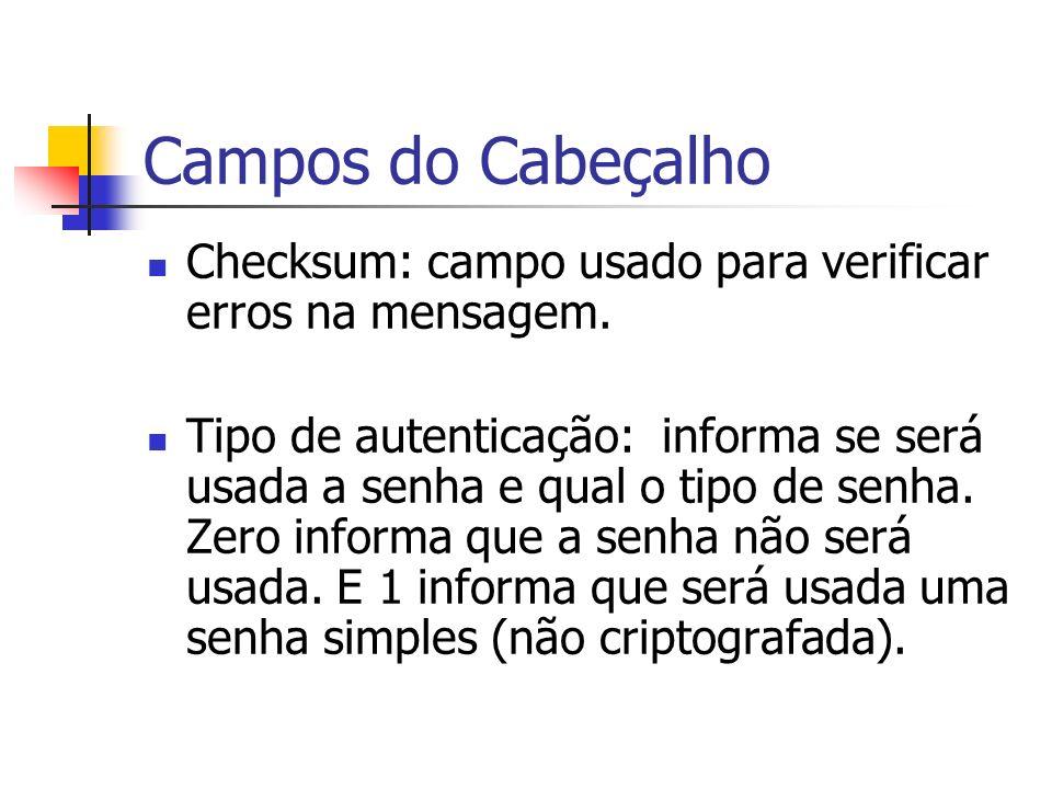 Campos do Cabeçalho Checksum: campo usado para verificar erros na mensagem. Tipo de autenticação: informa se será usada a senha e qual o tipo de senha