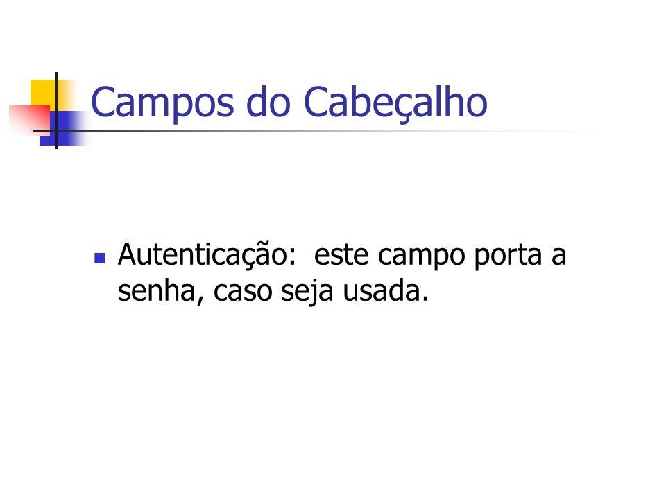 Campos do Cabeçalho Autenticação: este campo porta a senha, caso seja usada.