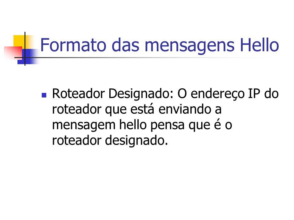 Formato das mensagens Hello Roteador Designado: O endereço IP do roteador que está enviando a mensagem hello pensa que é o roteador designado.