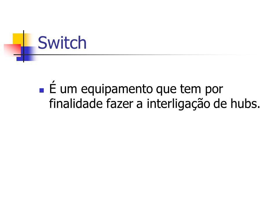 Switch É um equipamento que tem por finalidade fazer a interligação de hubs.