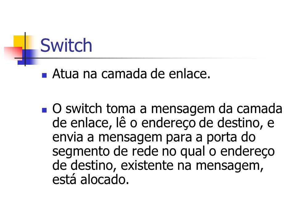 Switch Atua na camada de enlace. O switch toma a mensagem da camada de enlace, lê o endereço de destino, e envia a mensagem para a porta do segmento d
