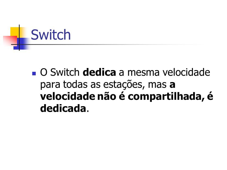 Switch O Switch dedica a mesma velocidade para todas as estações, mas a velocidade não é compartilhada, é dedicada.