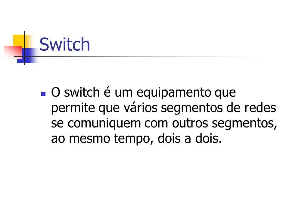 Switch O switch é um equipamento que permite que vários segmentos de redes se comuniquem com outros segmentos, ao mesmo tempo, dois a dois.