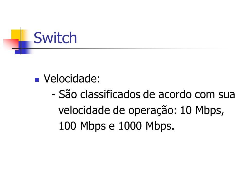 Switch Velocidade: - São classificados de acordo com sua velocidade de operação: 10 Mbps, 100 Mbps e 1000 Mbps.