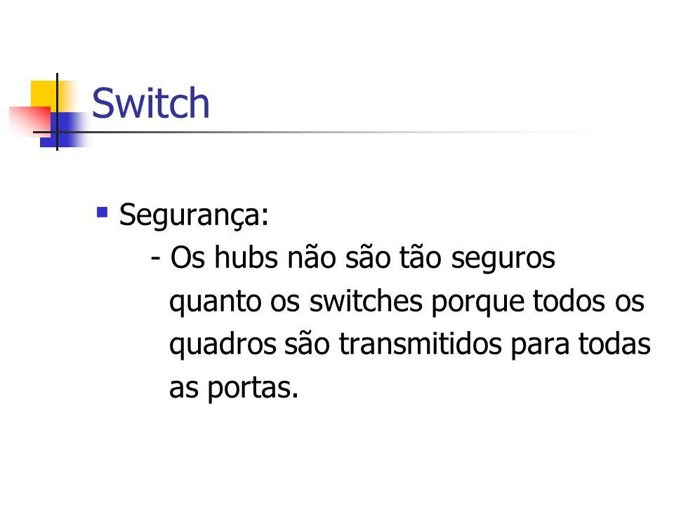 Switch Segurança: - Os hubs não são tão seguros quanto os switches porque todos os quadros são transmitidos para todas as portas.