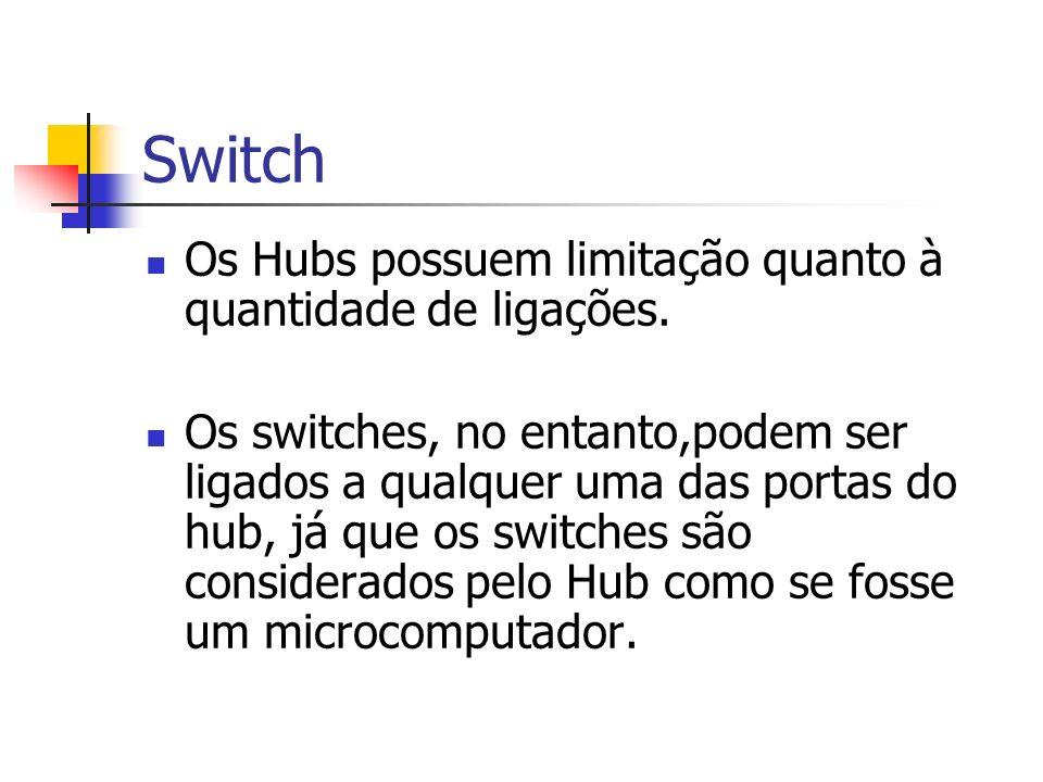 Switch Os Hubs possuem limitação quanto à quantidade de ligações. Os switches, no entanto,podem ser ligados a qualquer uma das portas do hub, já que o