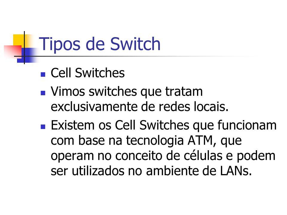 Tipos de Switch Cell Switches Vimos switches que tratam exclusivamente de redes locais. Existem os Cell Switches que funcionam com base na tecnologia