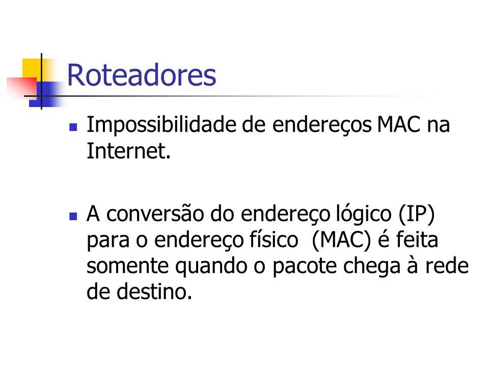 Roteadores Impossibilidade de endereços MAC na Internet. A conversão do endereço lógico (IP) para o endereço físico (MAC) é feita somente quando o pac