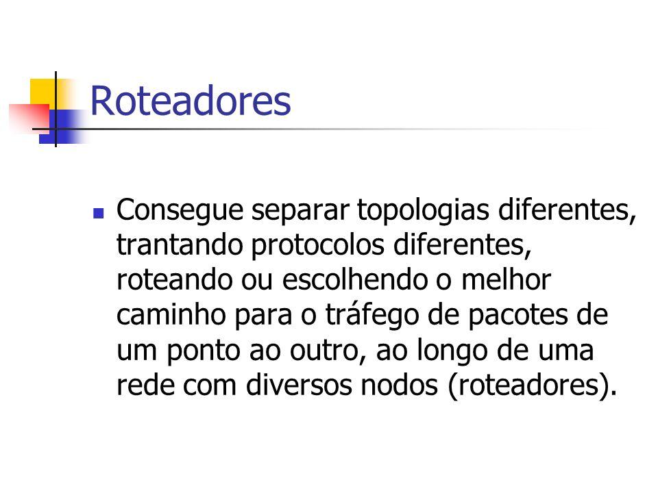Roteadores Consegue separar topologias diferentes, trantando protocolos diferentes, roteando ou escolhendo o melhor caminho para o tráfego de pacotes