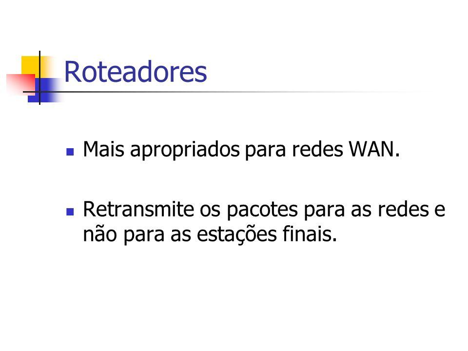 Roteadores Mais apropriados para redes WAN. Retransmite os pacotes para as redes e não para as estações finais.