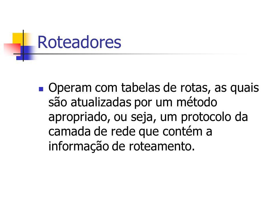 Roteadores Operam com tabelas de rotas, as quais são atualizadas por um método apropriado, ou seja, um protocolo da camada de rede que contém a inform