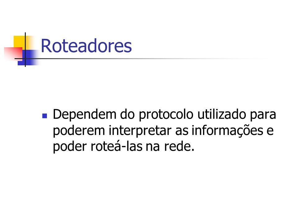Roteadores Dependem do protocolo utilizado para poderem interpretar as informações e poder roteá-las na rede.