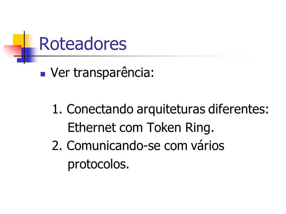 Roteadores Ver transparência: 1. Conectando arquiteturas diferentes: Ethernet com Token Ring. 2. Comunicando-se com vários protocolos.