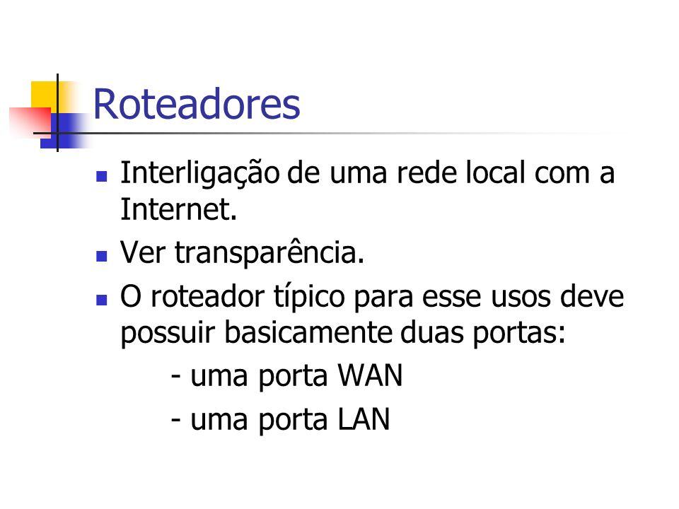 Roteadores Interligação de uma rede local com a Internet. Ver transparência. O roteador típico para esse usos deve possuir basicamente duas portas: -