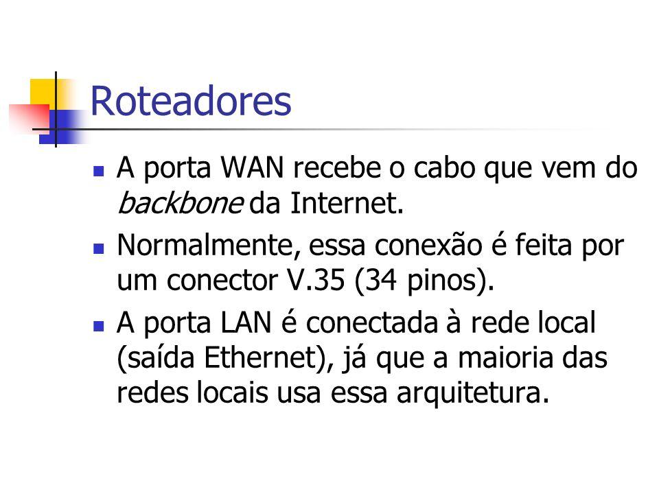 Roteadores A porta WAN recebe o cabo que vem do backbone da Internet. Normalmente, essa conexão é feita por um conector V.35 (34 pinos). A porta LAN é