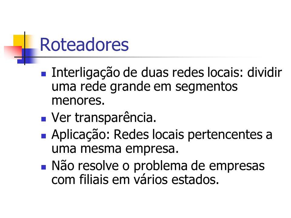 Roteadores Interligação de duas redes locais: dividir uma rede grande em segmentos menores. Ver transparência. Aplicação: Redes locais pertencentes a