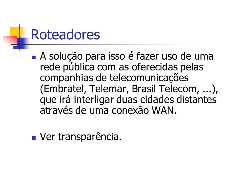 Roteadores A solução para isso é fazer uso de uma rede pública com as oferecidas pelas companhias de telecomunicações (Embratel, Telemar, Brasil Telec