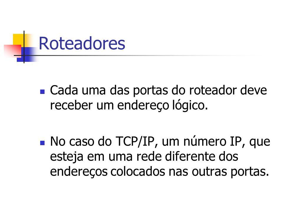 Roteadores Cada uma das portas do roteador deve receber um endereço lógico. No caso do TCP/IP, um número IP, que esteja em uma rede diferente dos ende