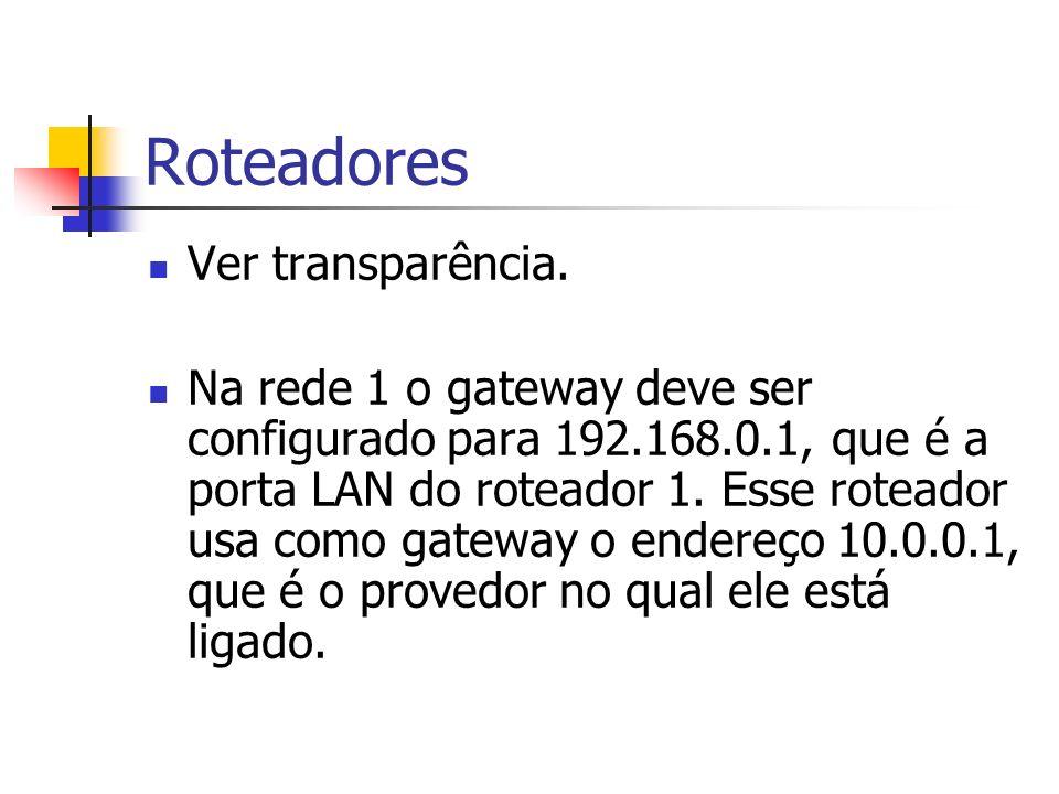 Roteadores Ver transparência. Na rede 1 o gateway deve ser configurado para 192.168.0.1, que é a porta LAN do roteador 1. Esse roteador usa como gatew