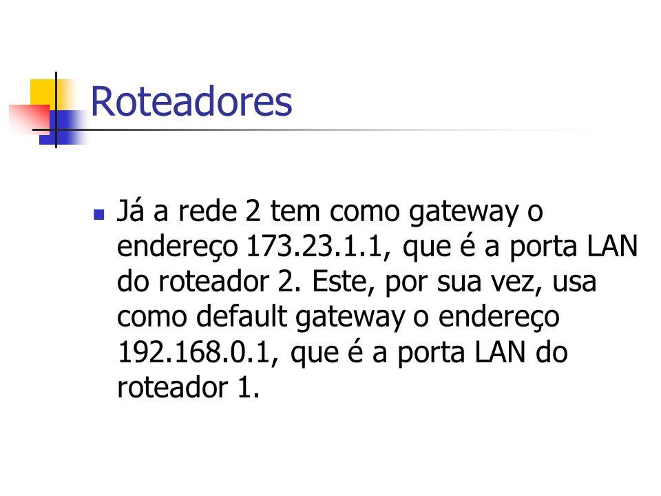 Roteadores Já a rede 2 tem como gateway o endereço 173.23.1.1, que é a porta LAN do roteador 2. Este, por sua vez, usa como default gateway o endereço