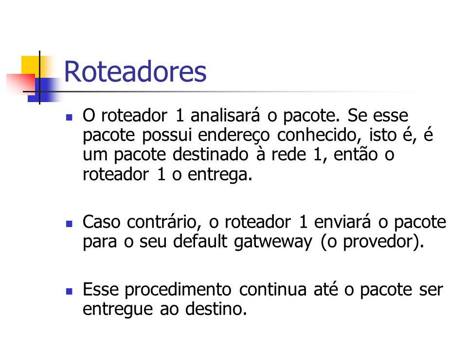 Roteadores O roteador 1 analisará o pacote. Se esse pacote possui endereço conhecido, isto é, é um pacote destinado à rede 1, então o roteador 1 o ent
