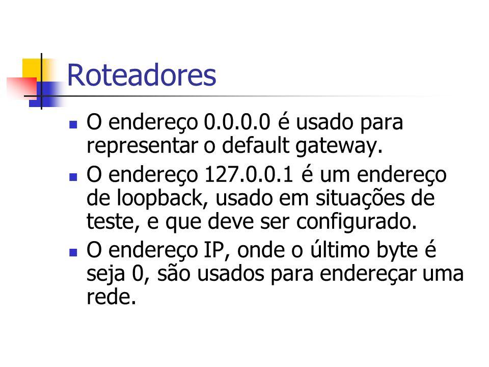Roteadores O endereço 0.0.0.0 é usado para representar o default gateway. O endereço 127.0.0.1 é um endereço de loopback, usado em situações de teste,